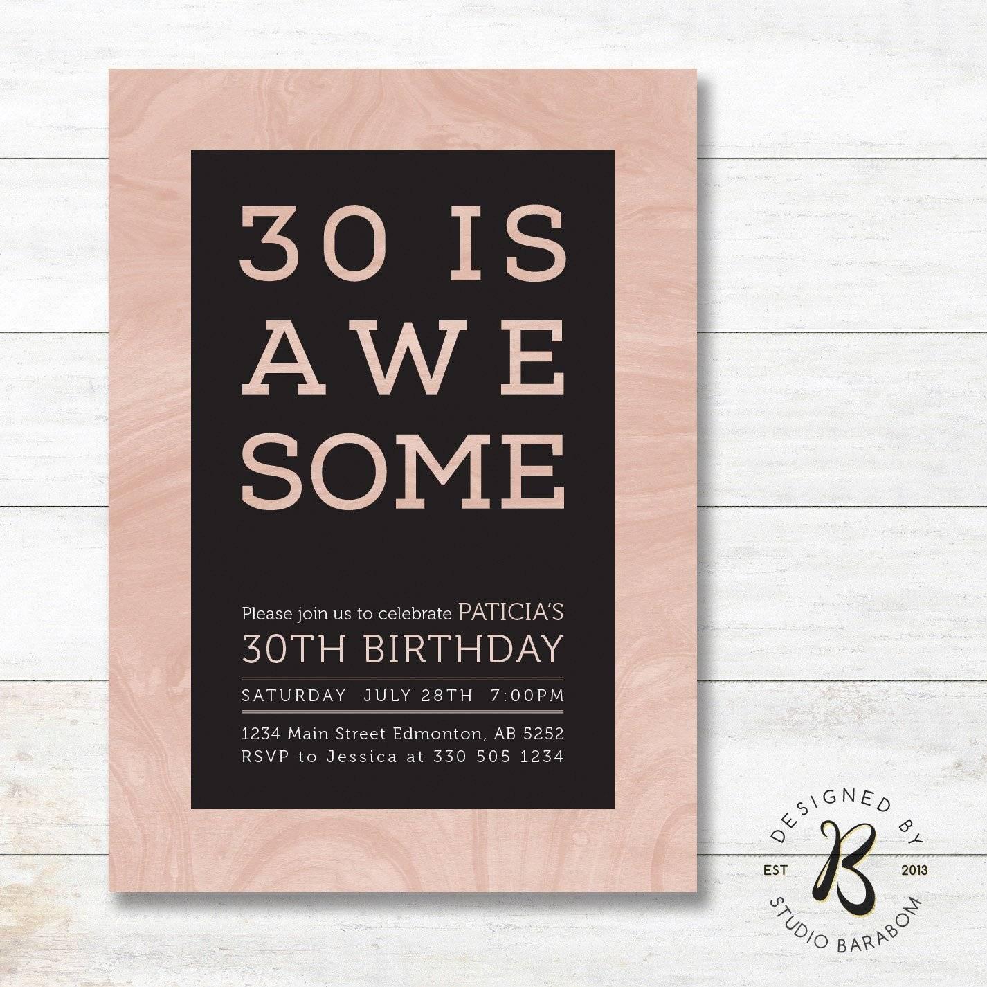Printable 30th Birthday Invitation Templates