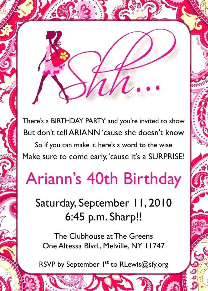 Printable 40th Birthday Invitations Templates