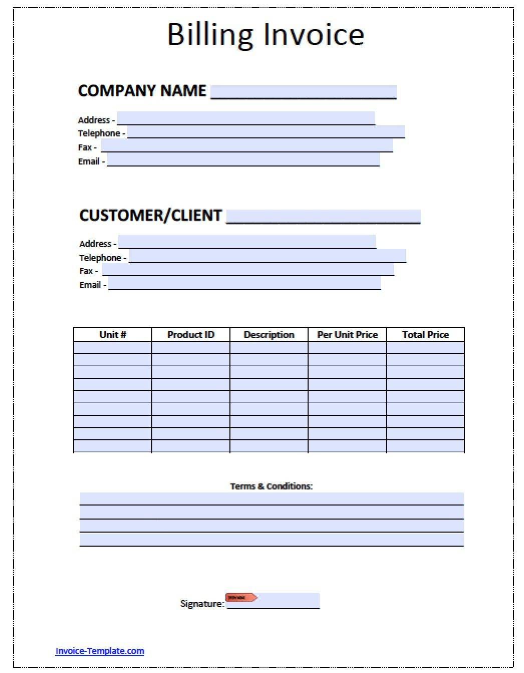 Printable Billing Invoice Templates