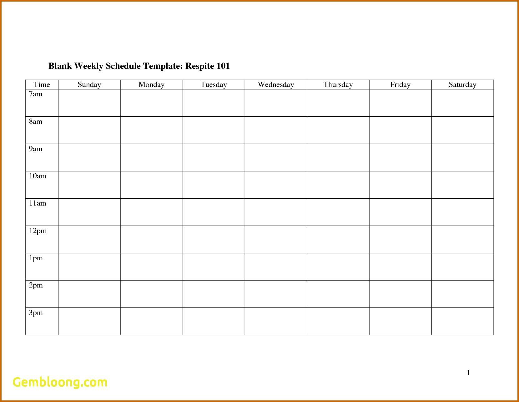 Printable Blank Weekly Work Schedule Template