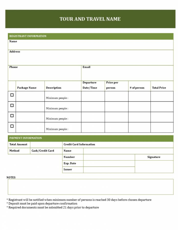 Printable Booking Form Template Free
