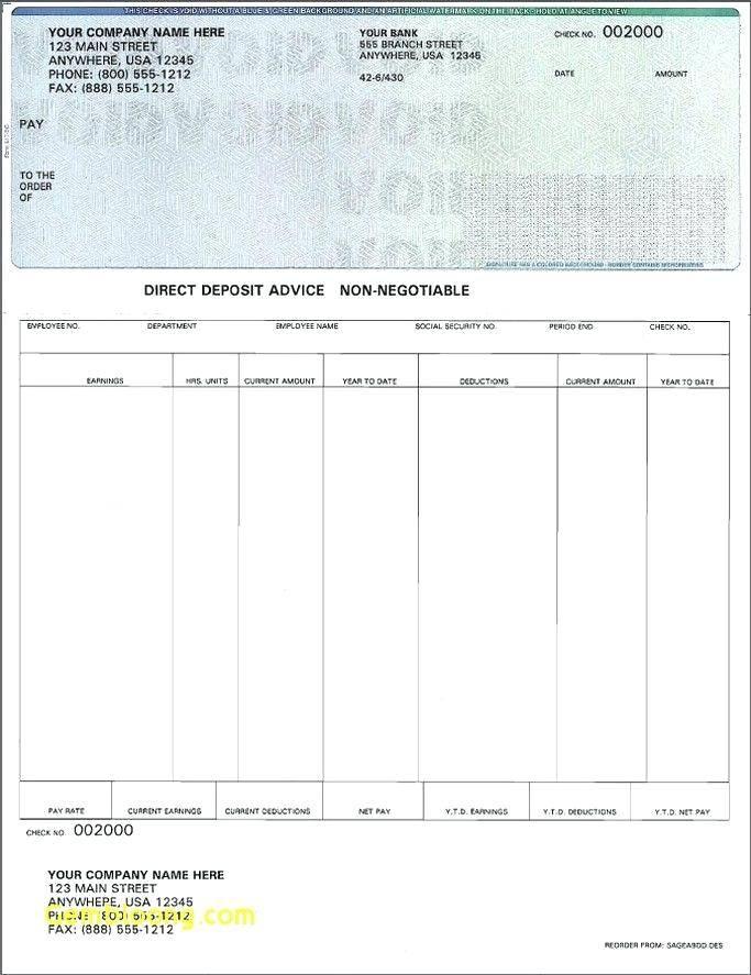 Printable Check Stub Templates