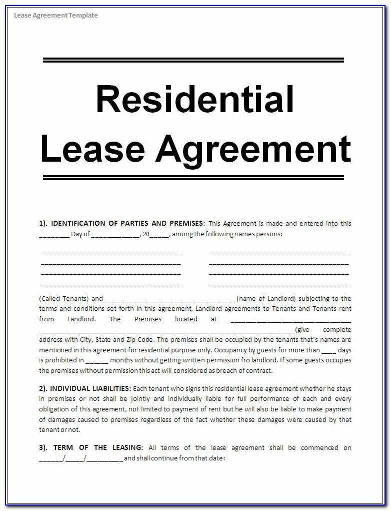 Printable Commercial Lease Agreement Form