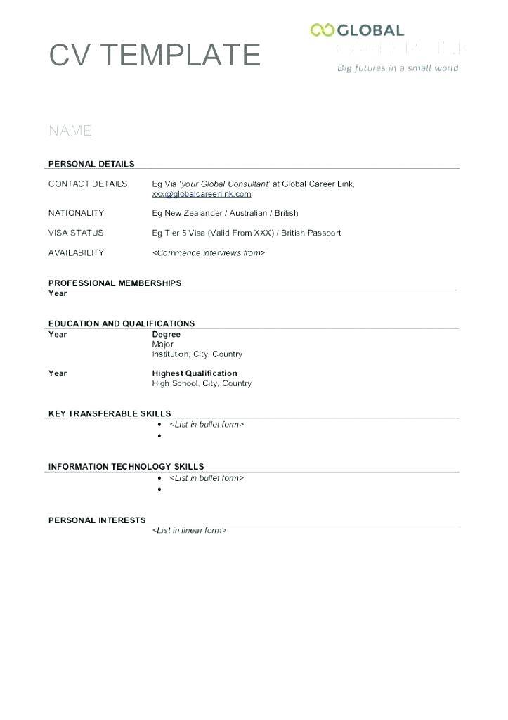Printable Cv Template Uk