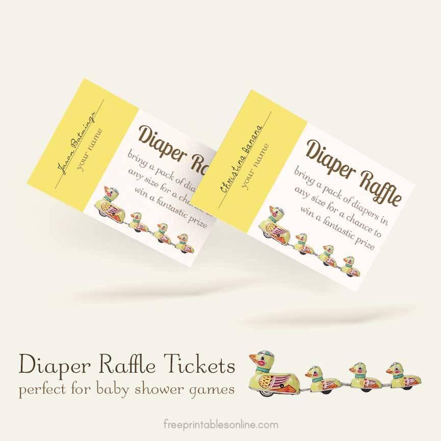 Printable Diaper Raffle Ticket Template