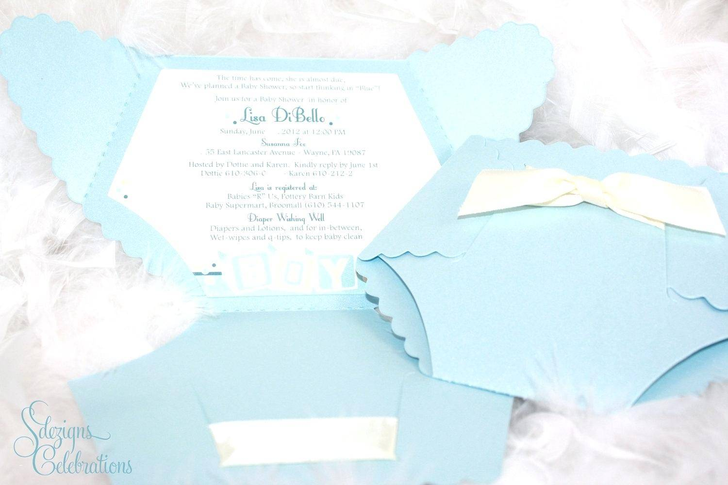 Printable Diaper Shaped Baby Shower Invitations