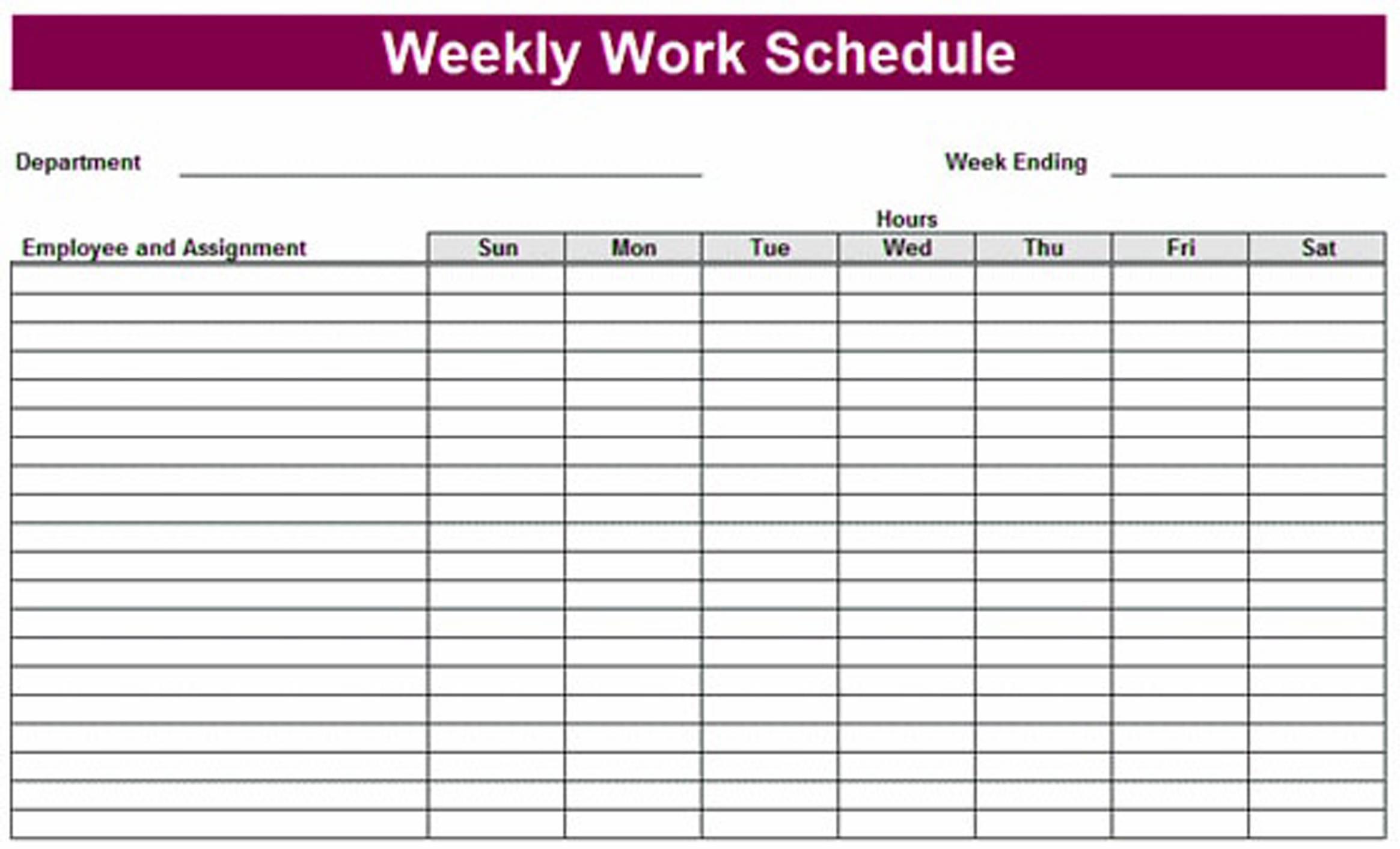 Printable Employee Work Schedule Template