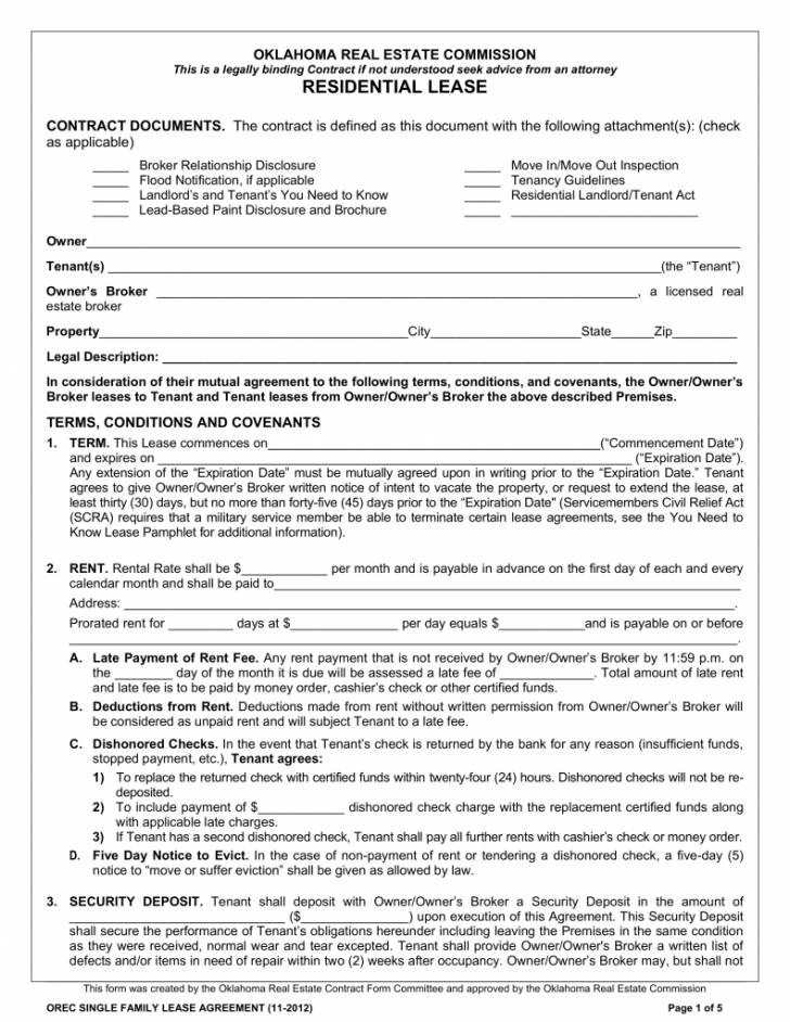 Printable Free Lease Agreement Template Word