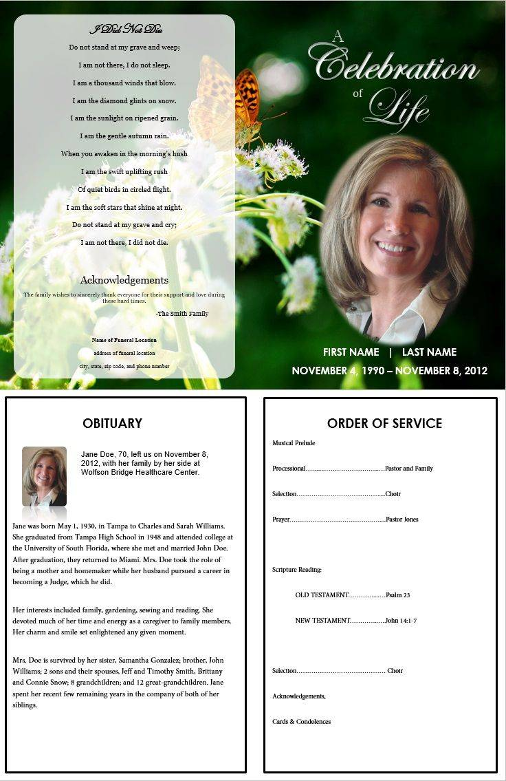 Printable Funeral Obituary Templates For Microsoft Word