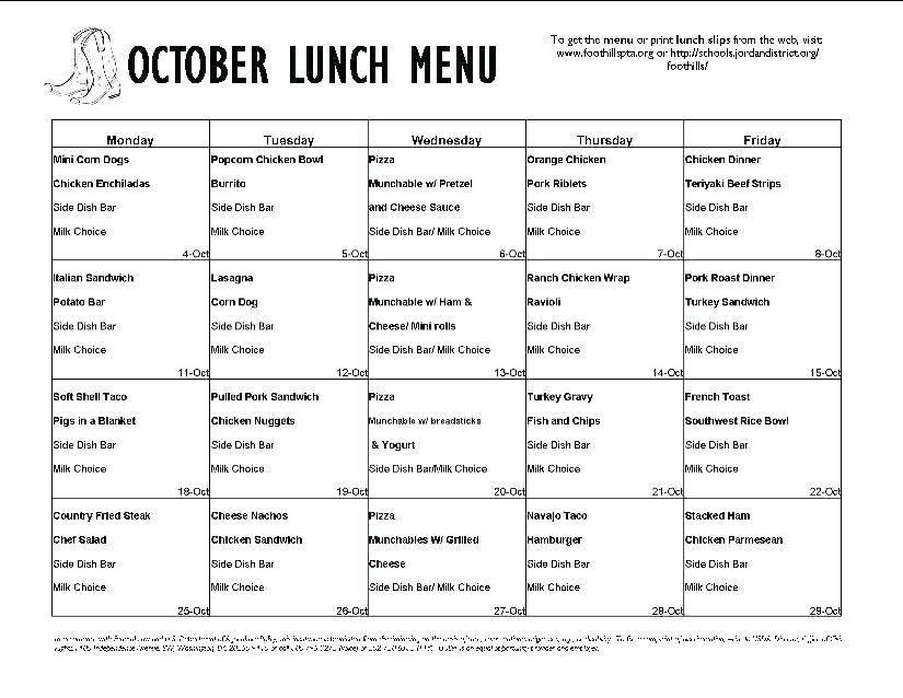 Printable Lunch Menu Template