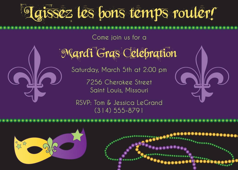 Printable Mardi Gras Invitation Template
