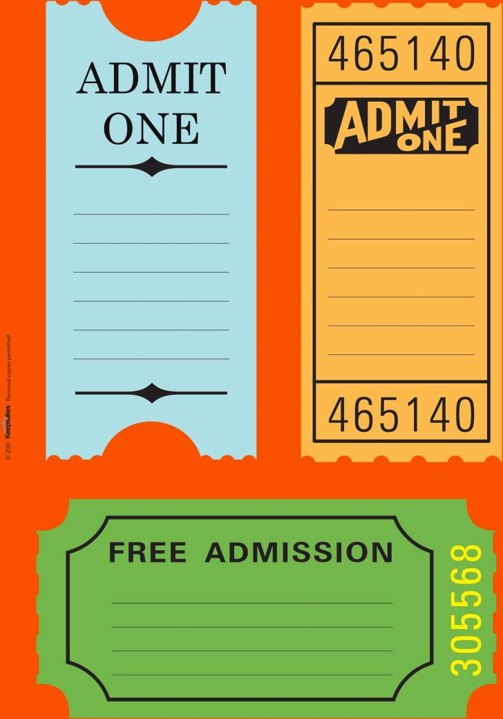 Printable Movie Ticket Templates