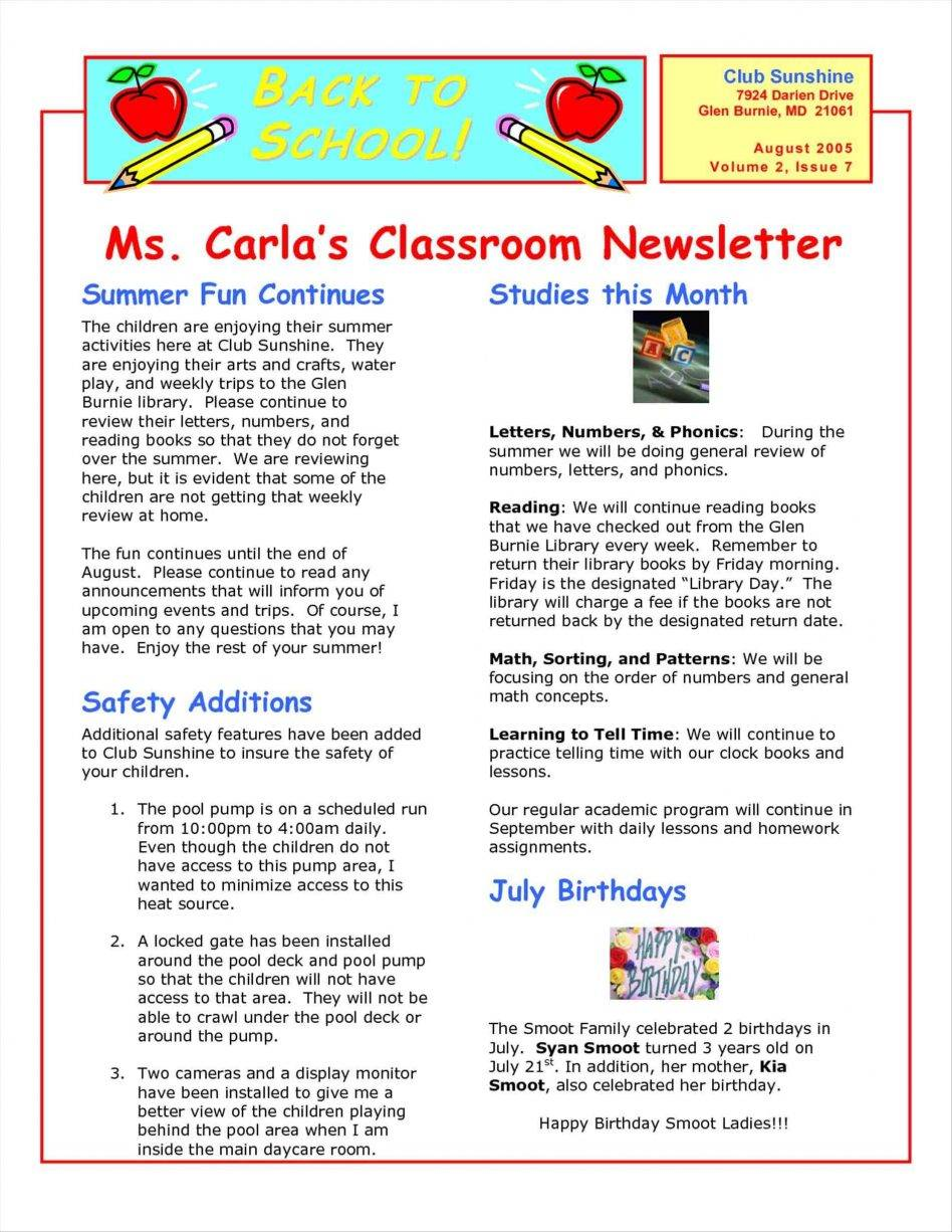 Printable Newsletter Templates For Kindergarten
