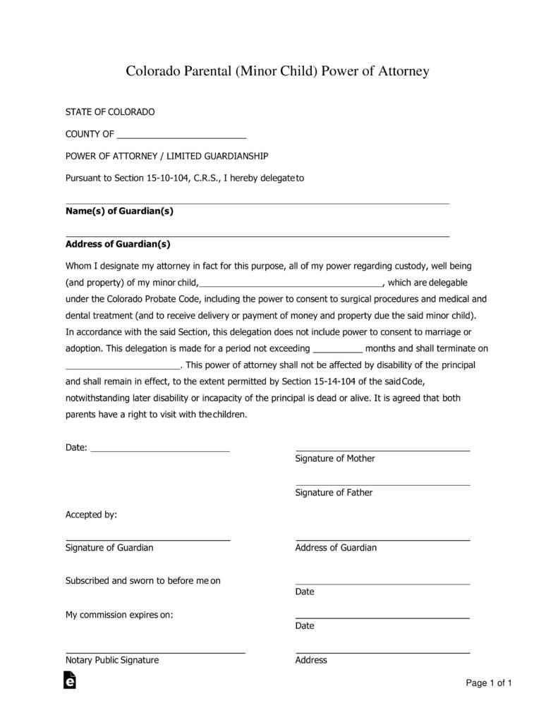 Printable Power Of Attorney Forms For Colorado