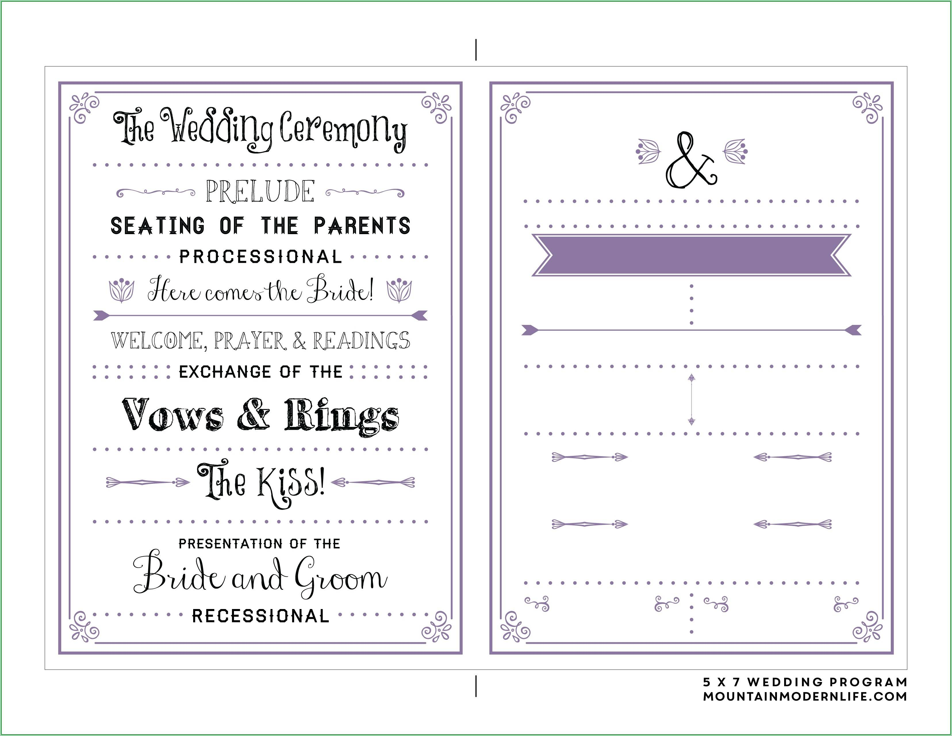 Printable Program Templates Wedding