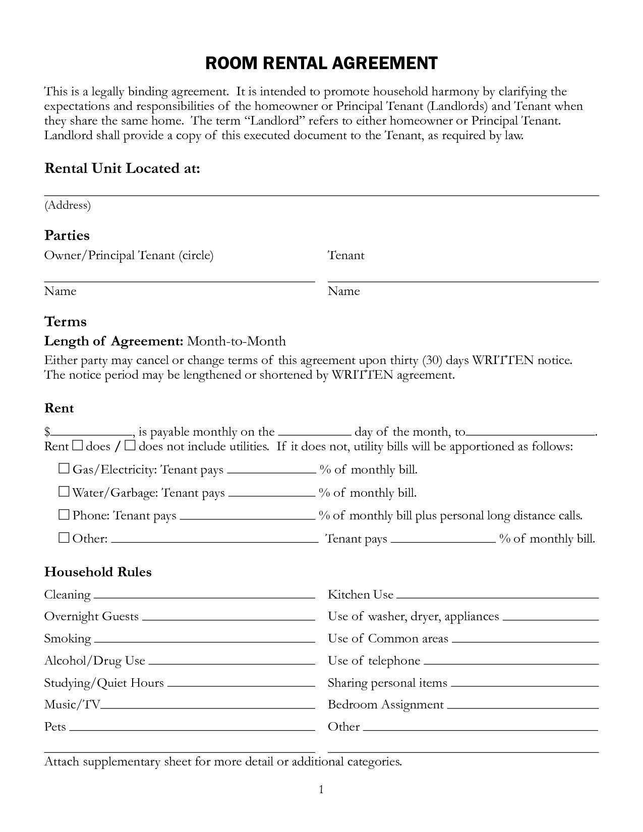 Printable Rental Agreement Form Free