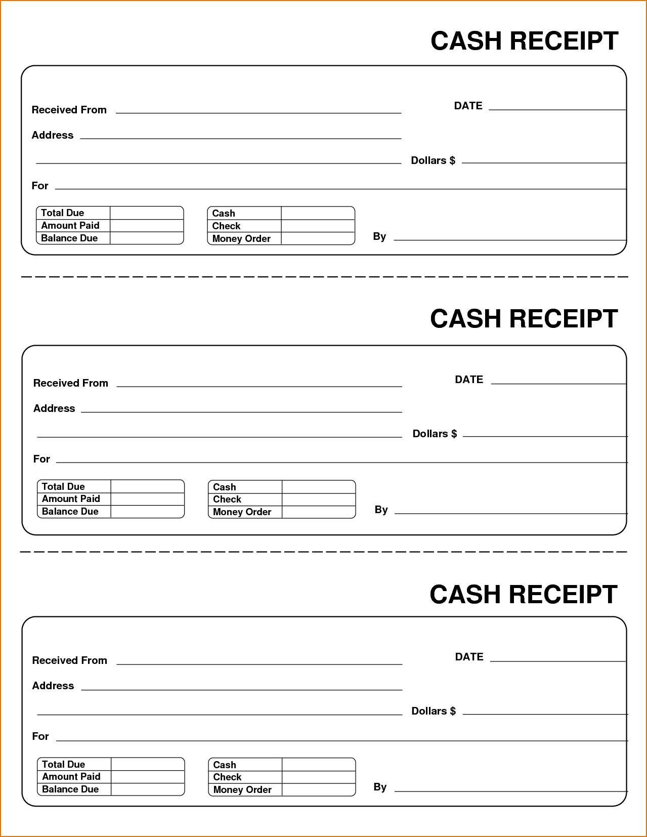 Printable Sales Receipt Template Free