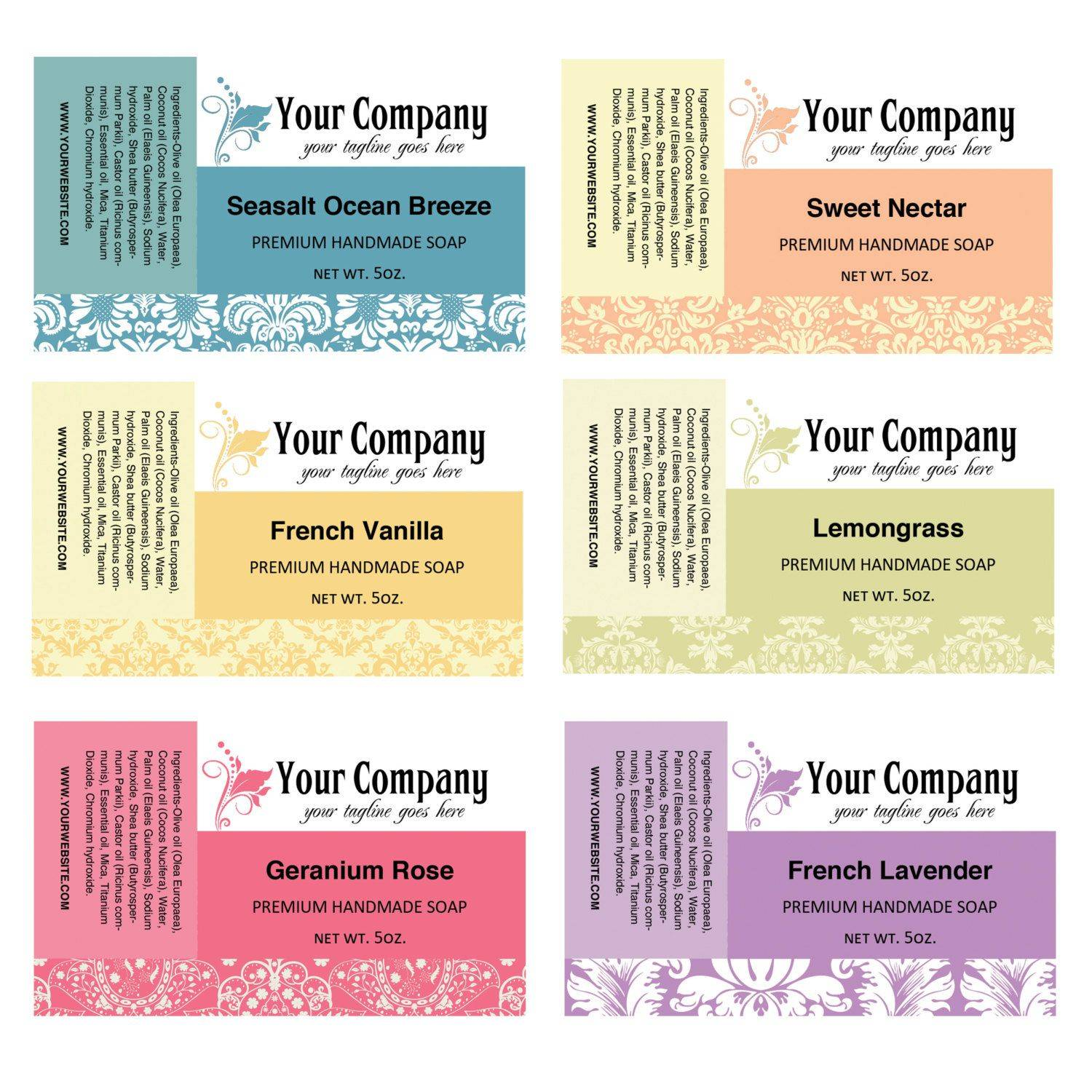 Printable Soap Labels Template