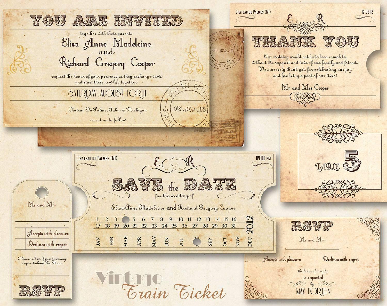 Printable Train Ticket Invitation Template