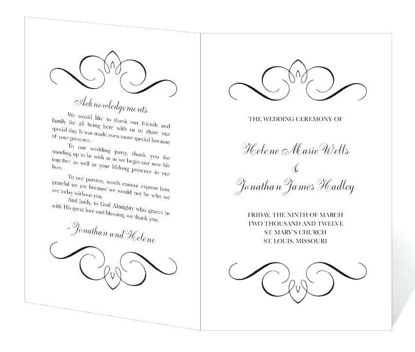 Printable Wedding Ceremony Program Templates