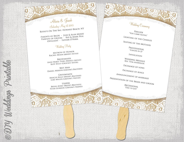 Printable Wedding Fan Program Templates