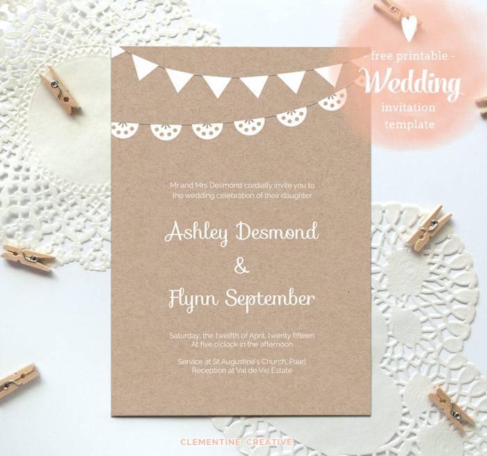 Printable Wedding Invitation Templates Free