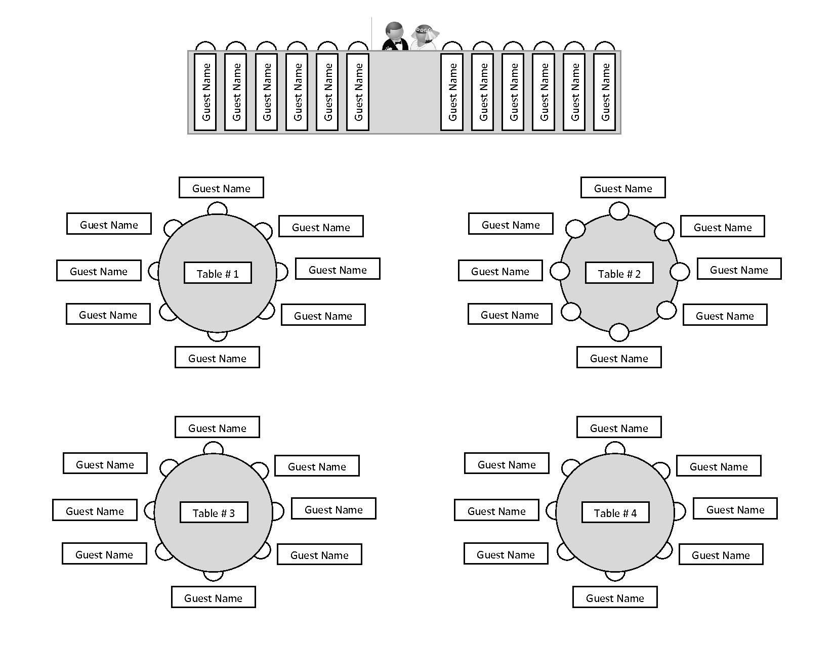 Printable Wedding Reception Seating Chart Template