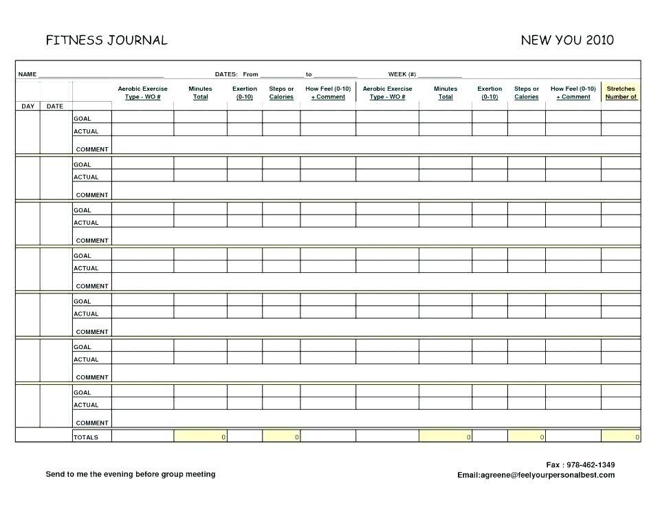 Printable Weekly Workout Log Template
