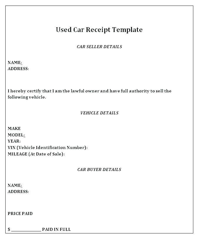 Private Car Sale Agreement Template Word