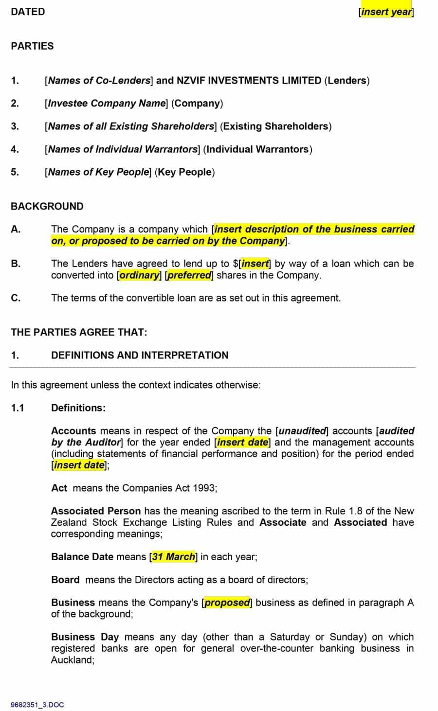 Private Loan Agreement Template Pdf
