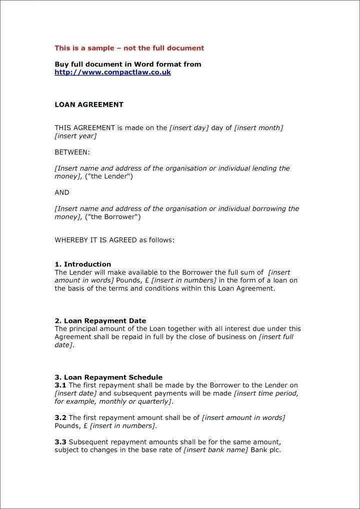 Private Loan Contract Template Uk