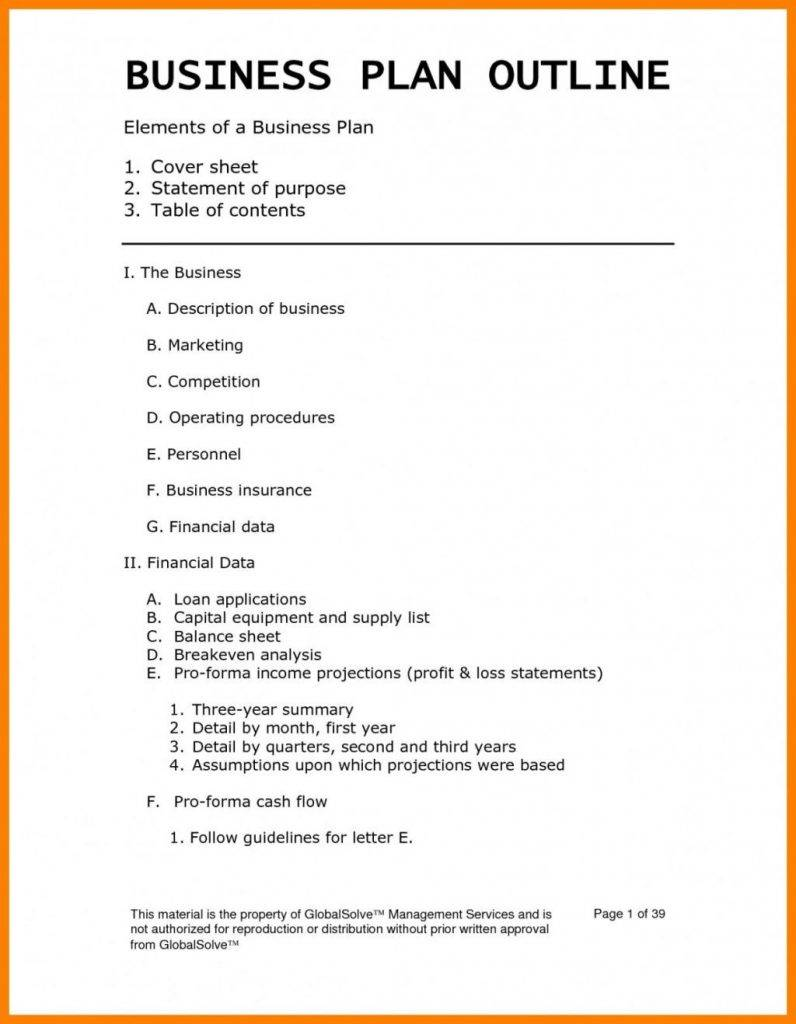 Pro Forma Business Plan Template Xls