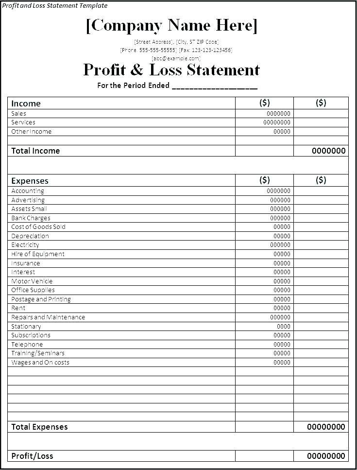 Pro Forma Cash Flow Statement Template