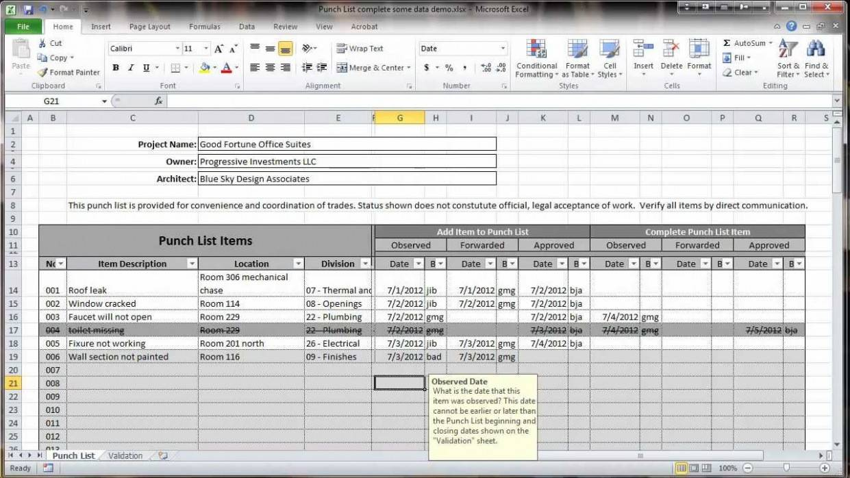 Procore Punch List Template