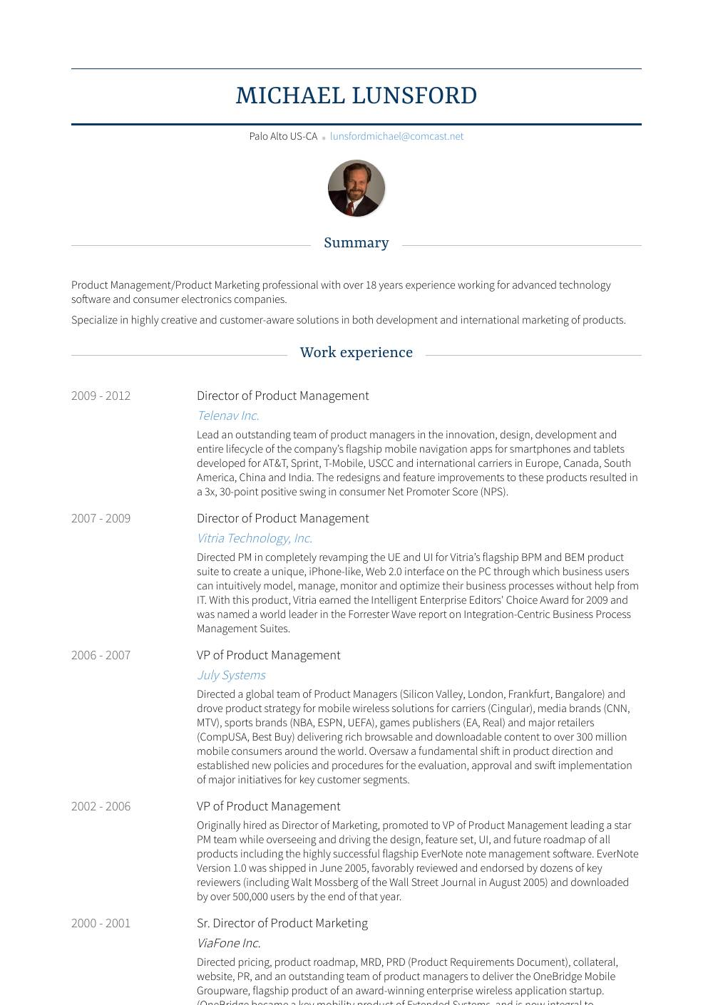 Product Management Resume Templates