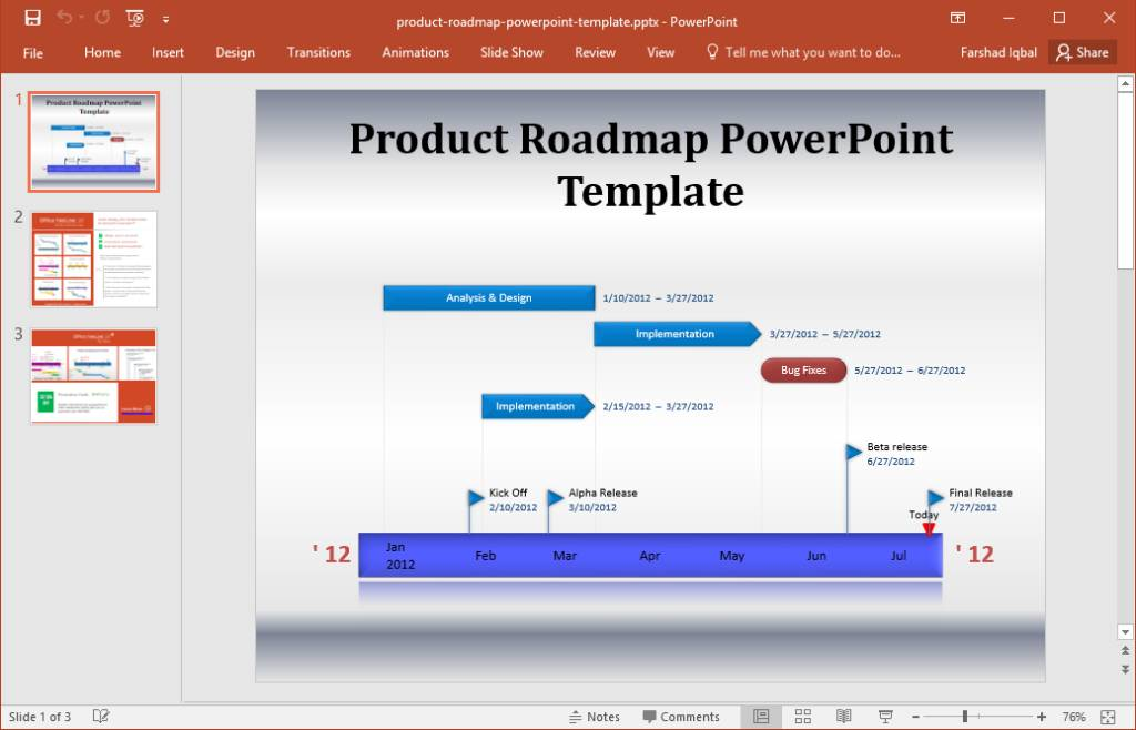 Product Roadmap Powerpoint Template Free