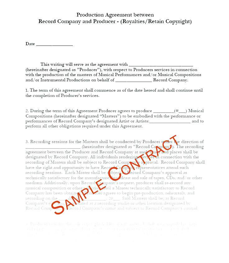 Production Agreement Template