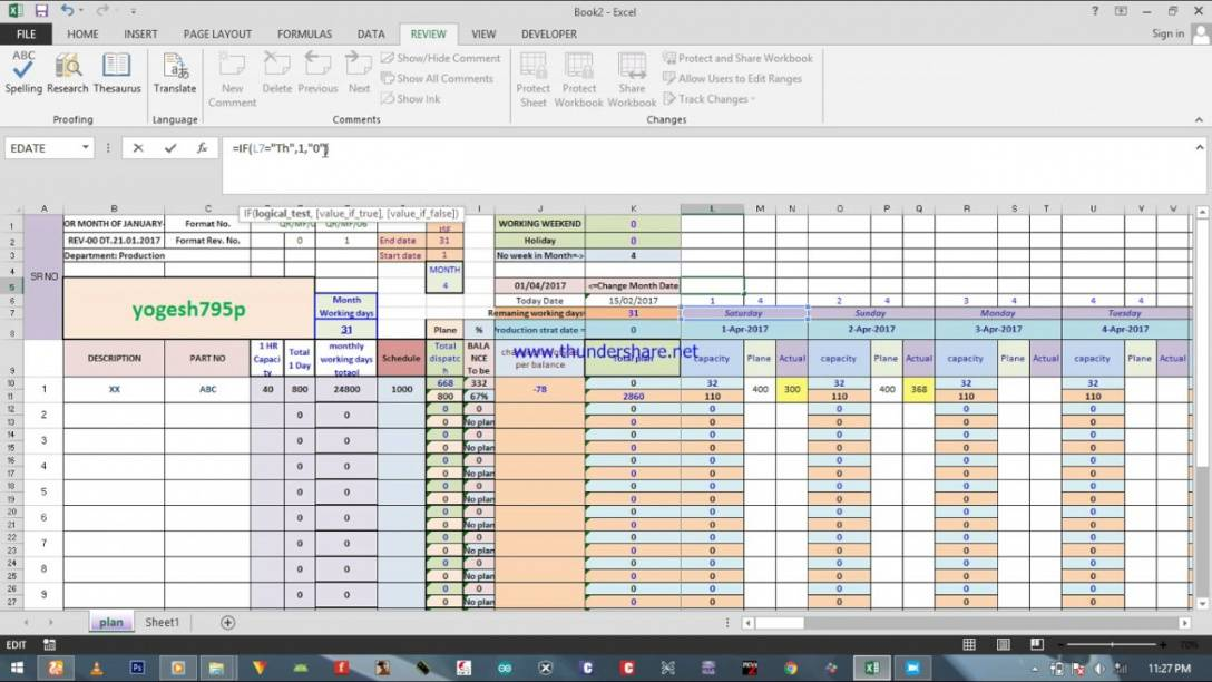 Production Planning Excel Template