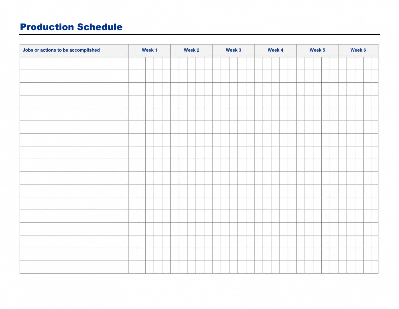 Production Schedule Template Word