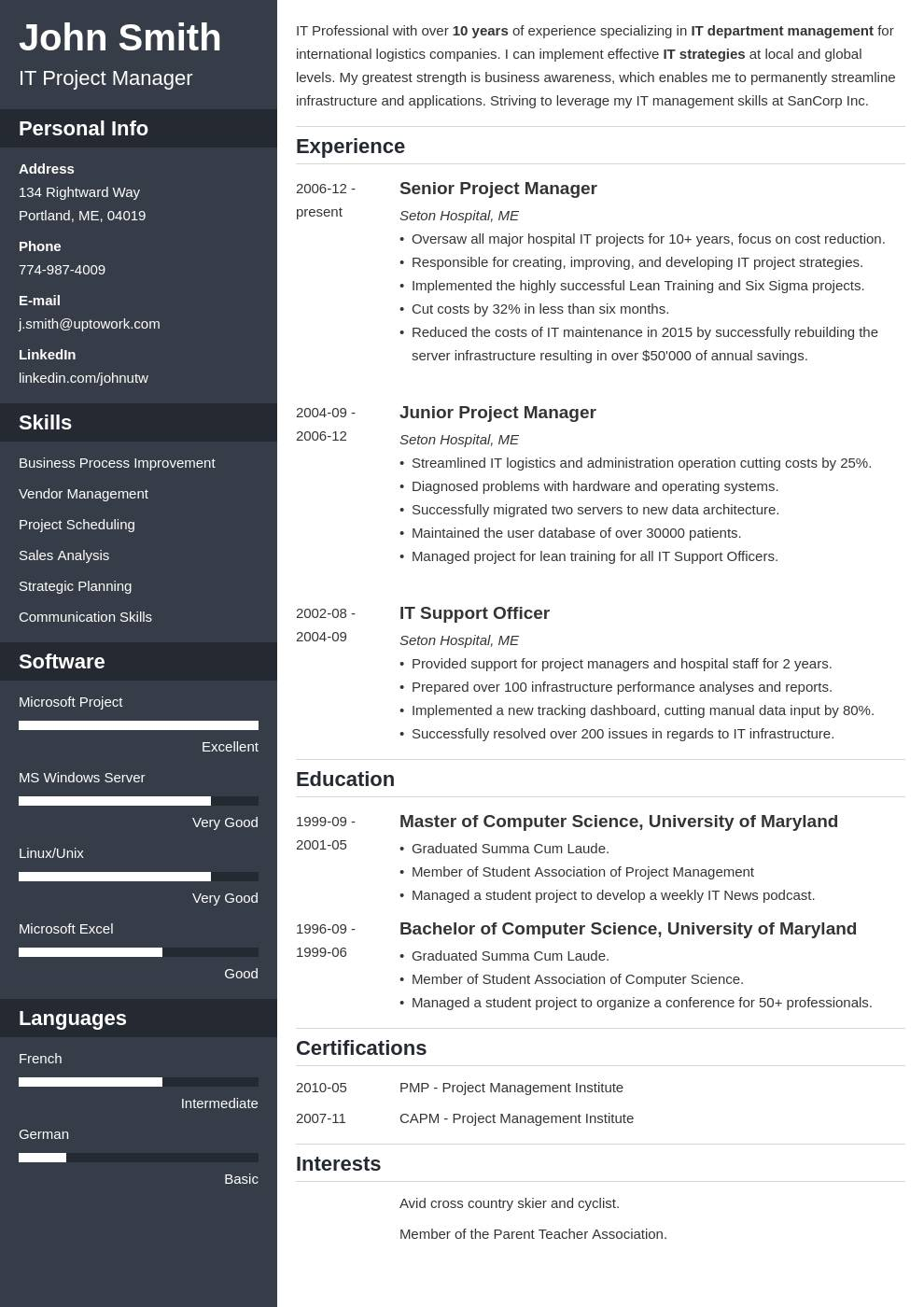 Professional Resume Template India
