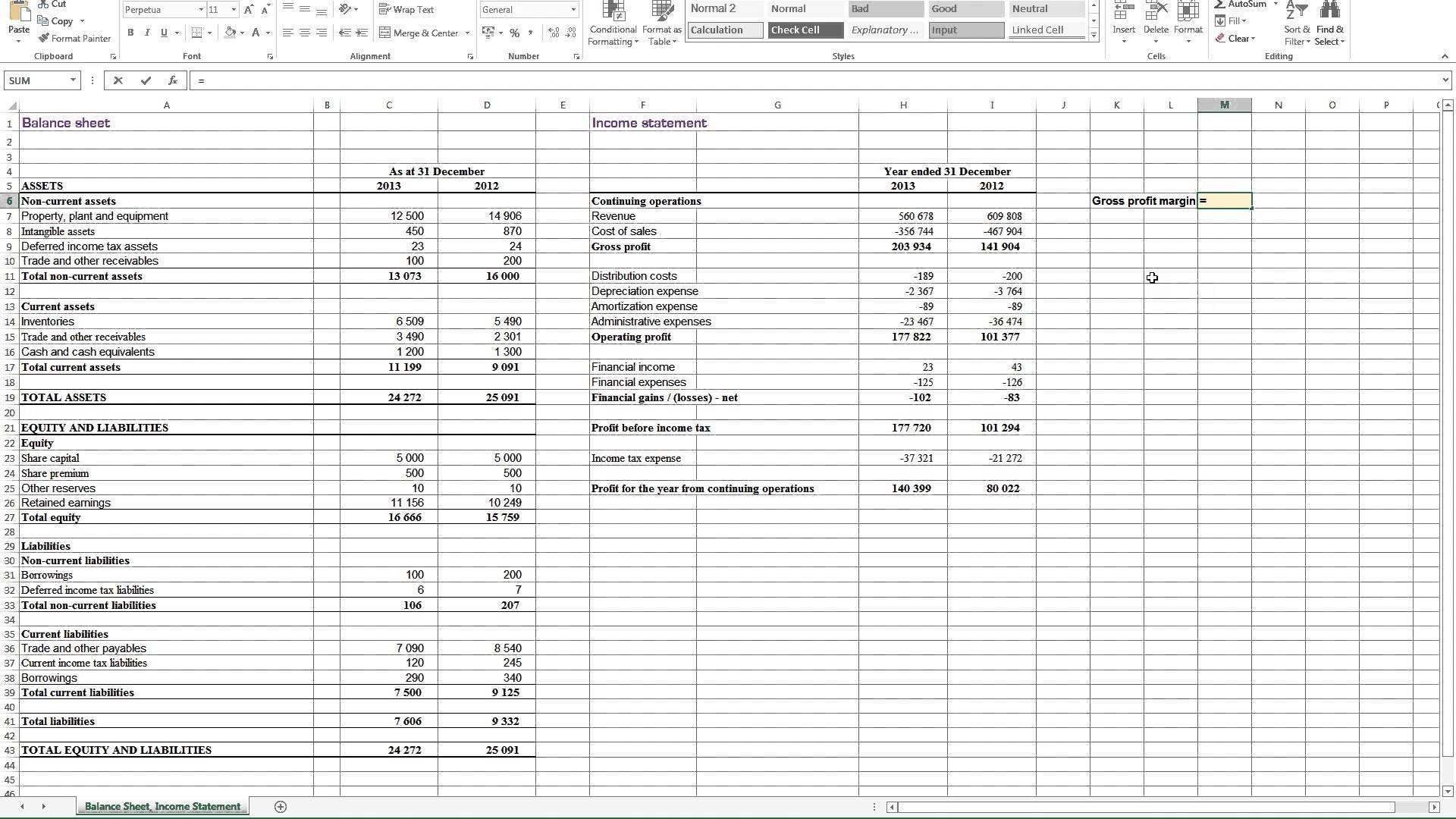 Profit And Loss Balance Sheet Template