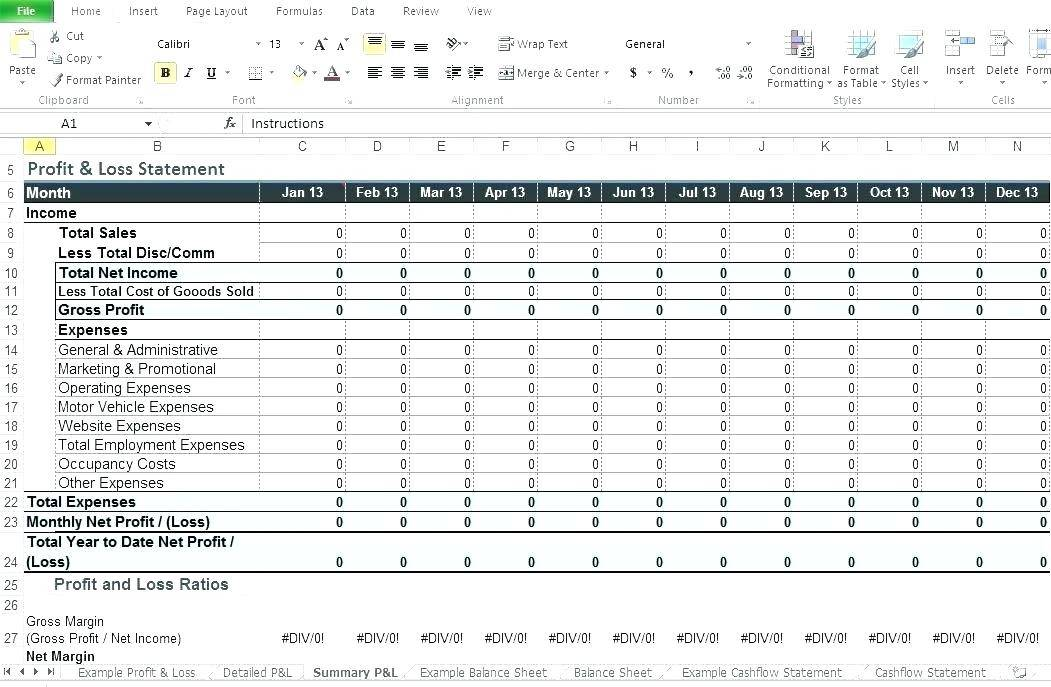 Profit Loss Excel Template Free