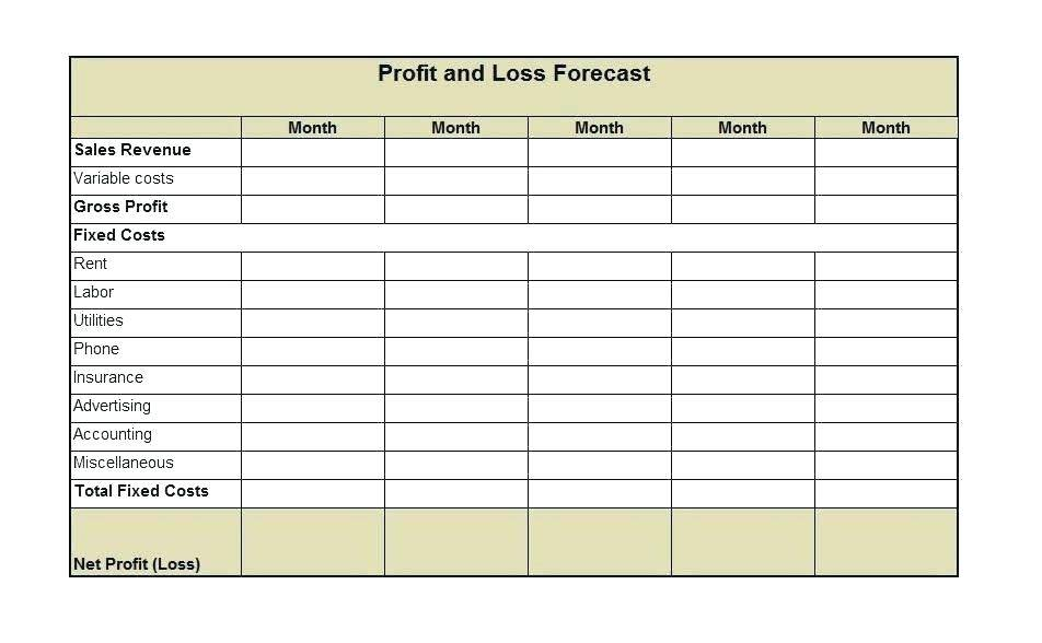 Profit Loss Forecast Template Excel