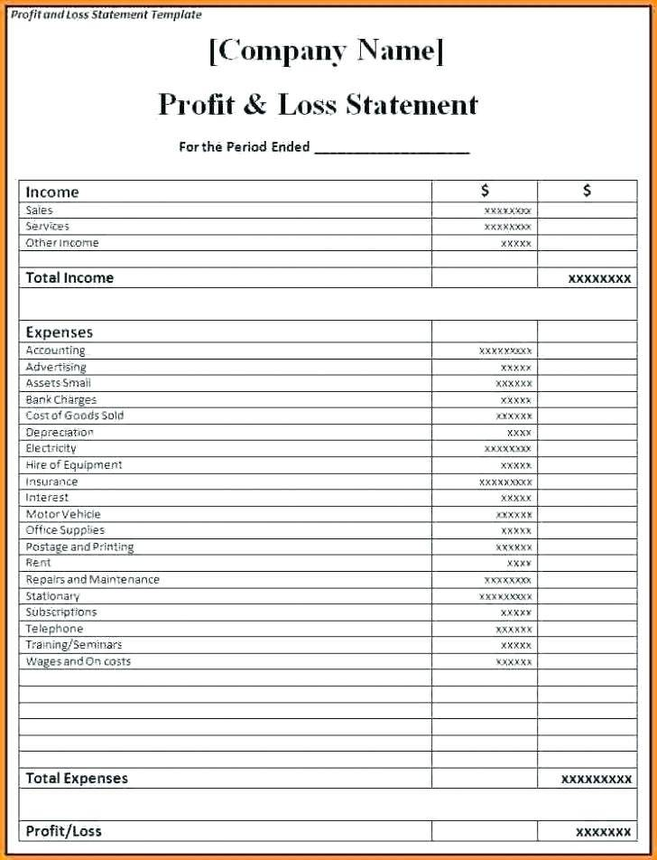Profit Loss Statement Form
