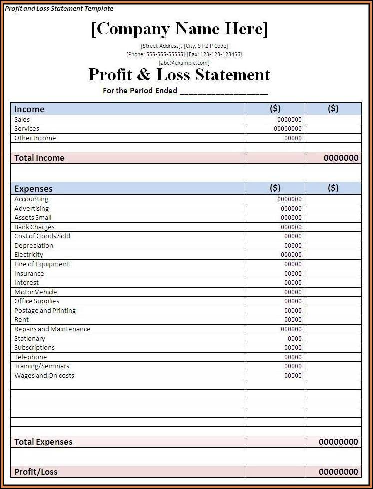 Profit Loss Statement Template Small Business