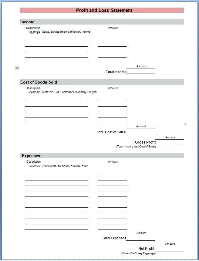 Profit Loss Statement Template Word