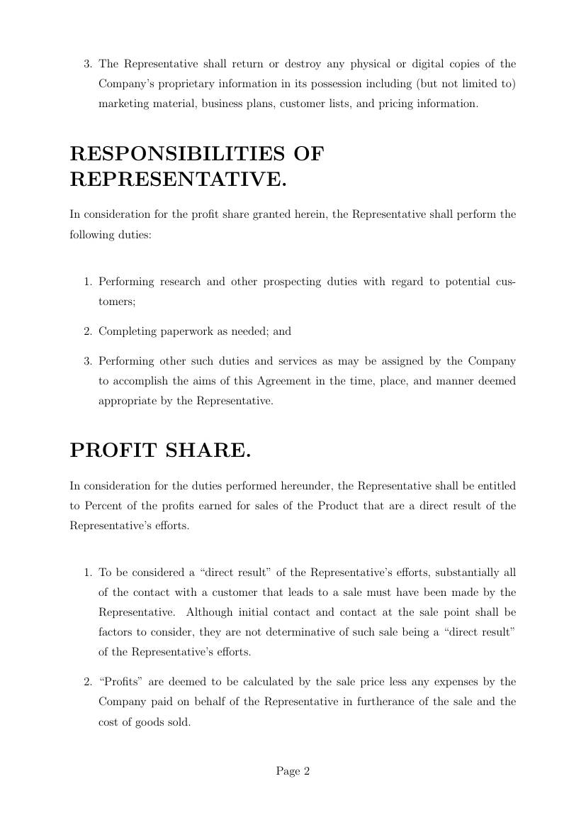 Profit Sharing Loan Agreement Template