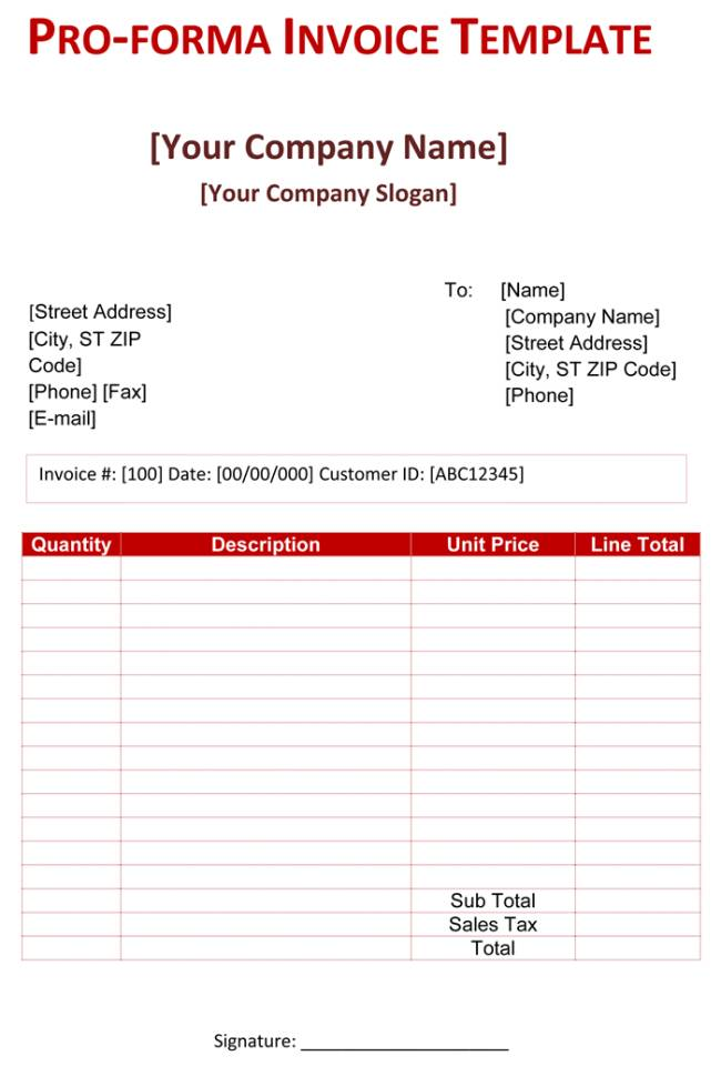 Proforma Invoice Template Excel Download