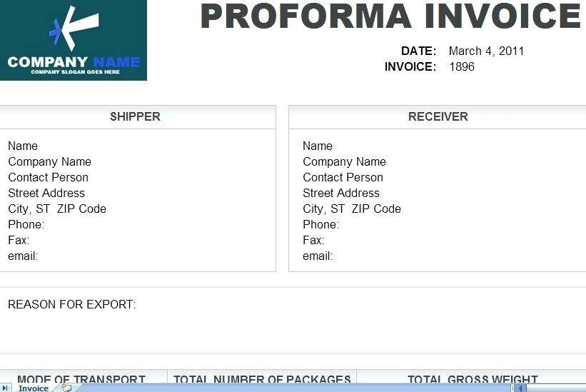 Proforma Invoice Template For Pages