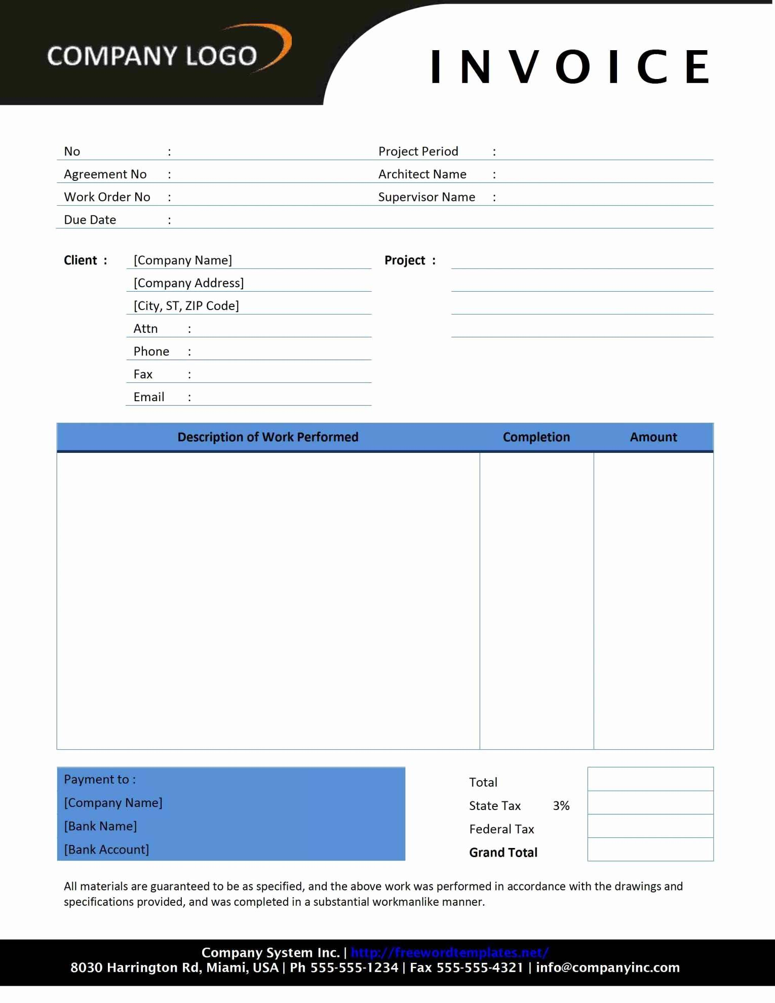 Proforma Invoice Template Word Free Download